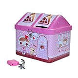 EQLEF® Salvadanaio per Bambini Cute House Shape Coin Bank, Scatola di Latta di Denaro con Toy Lock Regalo di Compleanno per Ragazze