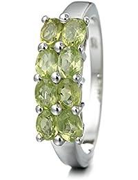 Silvancé - Damen Ring - 925 Silber, rhodiniert - echter Edelstein: Peridot ca. 1.52ct. - R883P