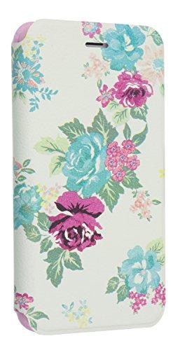Trendz Folio Schutzhülle Case Cover mit Verschluss und Kartenfach für iPhone 6/6S - Cremeweiß mit Blumenmuster - Glitter Iphone Blauer 4 Case
