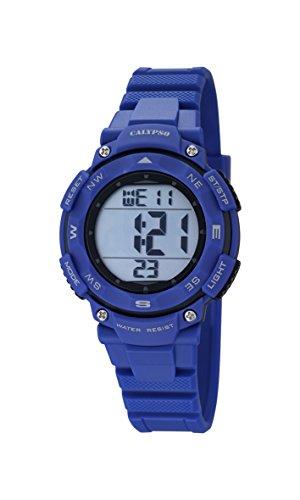 Calypso-Reloj Digital Unisex con LCD Pantalla Digital Esfera Azul y Correa de plástico K5669/6