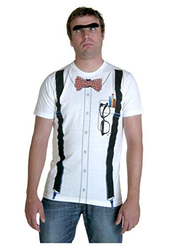 Herren-Nerd-Kostüm T-Shirt Weiß Weiß L