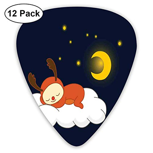 Guitar Picks12pcs Plectrum (0.46mm-0.96mm), Reindeer Sleeping With Stars And Crescent Moon On Blue Shade Backdrop,For Your Guitar or Ukulele Blue Moon Coffee