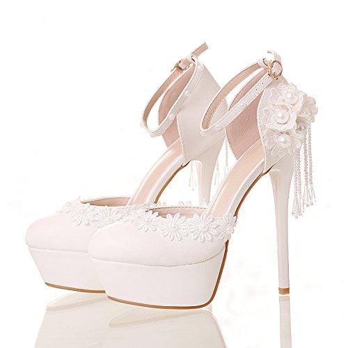 Si& Scarpe da sposa femminili / Principessa e sposa / Cinturino alla caviglia / Tacco Stiletto / Piattaforma rotonda Piattaforma impermeabile / Sandali con tacco alto / bianco 14CM