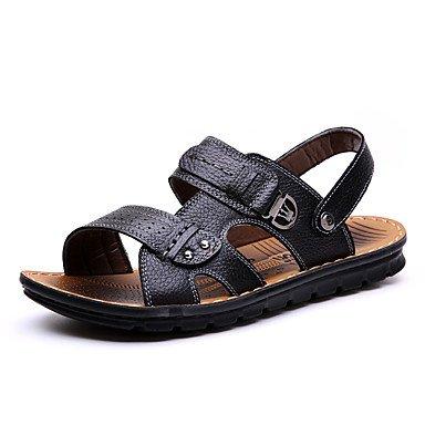 Hommes sandales sandales d'été / Open Toe Talon plat décontracté cuir noir / Brun / Autres Balades jaune Black