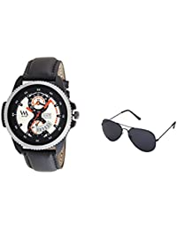 Watch Me Gift Combo Set Of Sunglasses And Day Date Series Black White Dial Analog Black Leather Strap Quartz Watch...