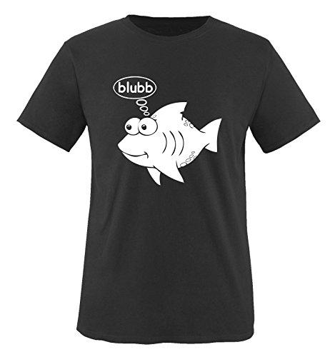 Fisch blubb - Herren Unisex T-Shirt Schwarz / Weiss