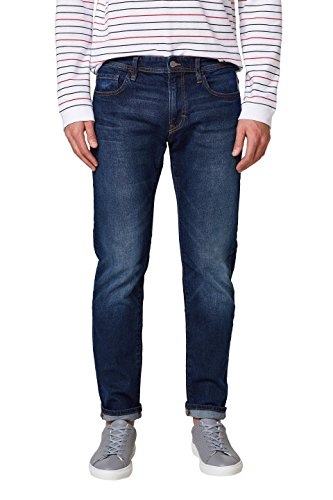 edc by ESPRIT Herren Straight Jeans 028CC2B007, Blau (Blue Dark Wash 901), 33/32 (Dark-denim-jeans Basic)