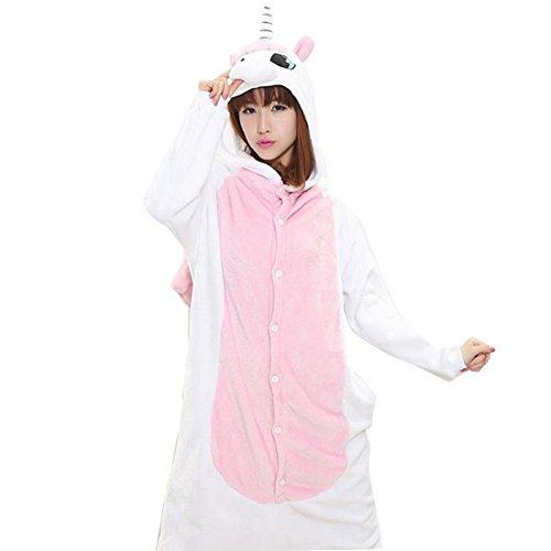 Unisexe Pyjama Combinaison Animal Licorne Vêtement de Nuit Cosplay Costume Déguisement Halloween (Tag L: Longueur: 150cm, rose clair)