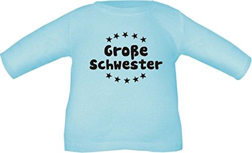 Baby / Kinder T-Shirt langarm (Farbe hellblau) (Größe 86/98) Große Schwester / COOK (Große Bekleidung Hellblau Kinder)