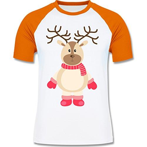 Weihnachten & Silvester - Winter Rentier Schal Mütze - zweifarbiges Baseballshirt für Männer Weiß/Orange