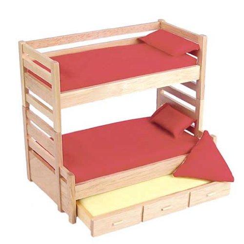 Aztec Imports Dollhouse Miniature Oak Bunk Beds with Trundle
