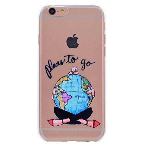 Coque iPhone 7s plus Silicone, LuckyW Housse Etui TPU Silicone Clear Clair Transparente Gel Slim Case pour Apple iPhone 7 Plus/7s Plus(5.5 pouces) Soft de Protection Cas Bumper Cover Converture Anti P Globe
