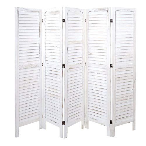 Mendler Paravent HWC-G30, Trennwand Sichtschutz Raumteiler, Shabby-Look 170x200cm ~ weiß