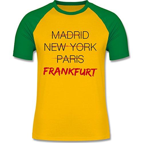 Städte - Weltstadt Frankfurt - zweifarbiges Baseballshirt für Männer Gelb/Grün