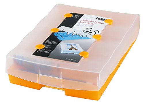 HAN CROCO 2-6-19 Karteikasten A8 9988-613, Lernbox  in Transluzent-Orange – Lernsystem für Vokabeln - dank Kästchen Schieben ins Langzeitgedächtnis – Ideal als Schulbedarf & Lernmaterial