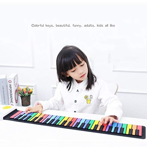 ASDFGH Hand Roll Up Piano Flexible Piano Tragbarer 49 Tasten Thick Tastatur Folding elektronisches Spielzeug Klavier for Anfänger und Kinder (Color : Color)