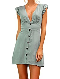 Longra Damen Volant-Ärmel Sommerkleid Minikleid Strandkleid Partykleid  V-Ausschnitt Rock Mädchen Unifarben Kleider Frauen… 10dabce4f2