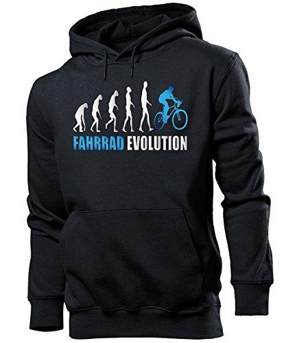 love-all-my-shirts Fahrrad Evolution 2059 Radsport Männer Herren Hoodie Pulli Kapuzen Pullover Kapuzenpullover Sportbekleidung Sport Schwarz aufdruck Blau S