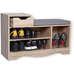 Happy Home Cabinet de Banc à Chaussures Moderne, supports de Rangement pour Chaussures avec tiroir et Coussin de siège pour la Maison, le couloir et l'entrée, Bois
