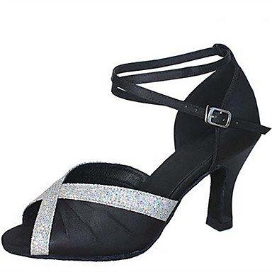 Silence @ Chaussures de danse pour femme en satin Latin Jazz Swing Chaussures Salsa Sandales Talon Practise débutant Professional Violet