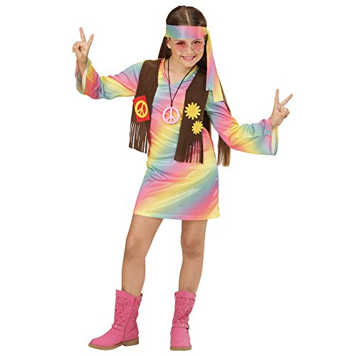 Widmann 73357 - Kinderkostüm Hippie Mädchen, Kleid angenähte Weste und Stirnband, Regenbogen, Größe 140 (Blumenkind Kostüm Zubehör)