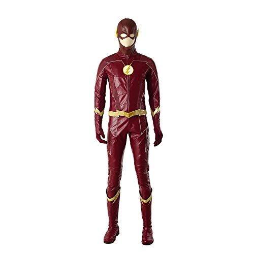 QWEASZER Die Flash-Staffel 4, Barry Allen Cosplay Kostüm Masken, Jacken, Hosen, Handschuhe, Schuhe Halloween Movie Kostüm Kostümfest Requisiten,Flash Barry - Benutzerdefinierte Flash Kostüm