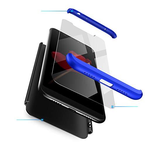 Funda XiaoMi Mi 8 Carcasa XiaoMi Mi 8 con [ Protector de Pantalla de Vidrio Templado ] 3 en 1 Desmontable XiaoMi Mi 8 Funda Protectora - pulgada 360 ° complete package protection - Negro Azul