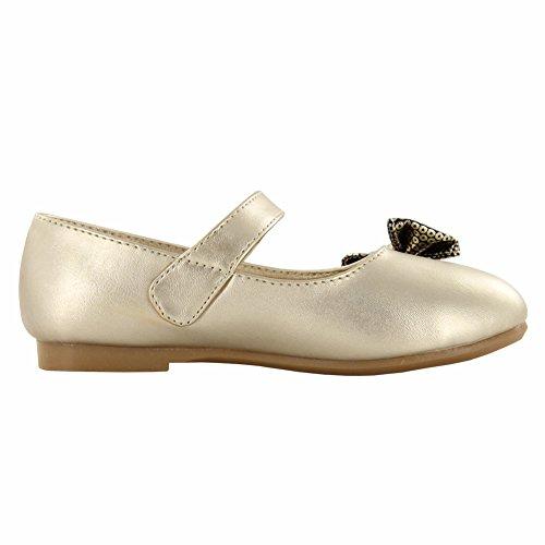 maxu Chaussures Pu Bow robe pour fille Doré