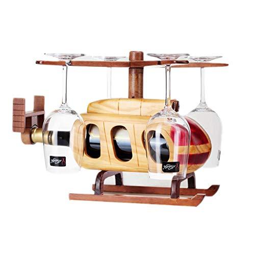 MTX Ltd Weinregal, Weinglasregal Massivholz Stand-Alone-Weinhalter, Weinglasregal Startseite Indoor Aircraft Styling Dekorationen Sichere und Stabile Weinhalter, Primärfarbe, 37 * 37 * 27CM Stand-alone-rack