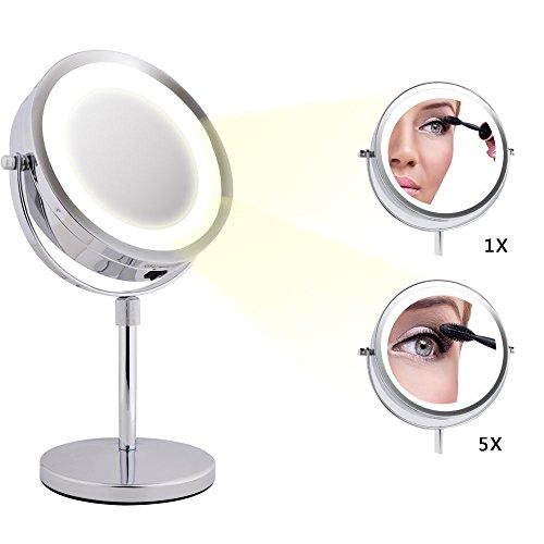 Limerence Moois Espejo de Maquillaje, Espejo Aumento, Espejo con luz, LED Iluminado 2 en 1 con 18 luces LEDs, con 360 grados de rotación ajustable, Doble Cara con Aumento de 1x/5x, Altura Ajustable, Opera con Pilas, Cromado, Cuidado de la Piel y Afeitado