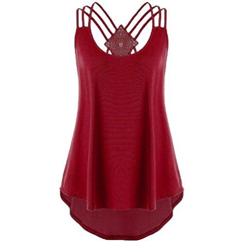 ESAILQ Damen Mode Crop Tank Tops Ärmelloses T-Shirt Gestreiftes Camisole(S,Rot) (Sterne Hund Tank)