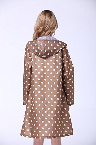 Donne Rainwear Impermeabile Pioggia Moda Giovane Manica Lunga Con Cappuccio Tasca Stampa Polka Dots Fashionable Poncho All'Aperto Escursionismo Raincoat Pioggia Trench Poncho Cachi