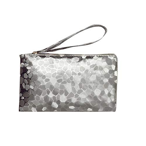 Uokoki Frauen-Mappe PU-Leder-Geldbeutel Reißverschluss schließt Handbag Mädchen-Damen-geometrische Muster Handtasche - Silber-münze Lagerung