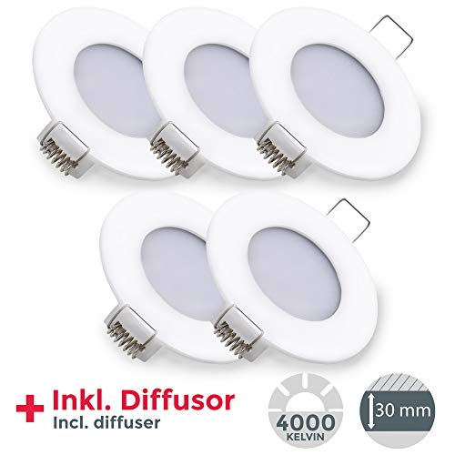 Faretti da incasso LED, luce bianca naturale 4000 K, LED integrati 5 W, foro incasso Ø 75mm, luci ultrasottili da soffitto, set da 5, slim, plastica bianca, IP23, 230V