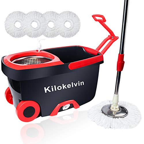 Kilokelvin Wischmop Clean Komplett Set, Wischmop und Eimer Set mit 5 Mikrofaser Wischkopfs und Rotationseimer mit Powerschleuder