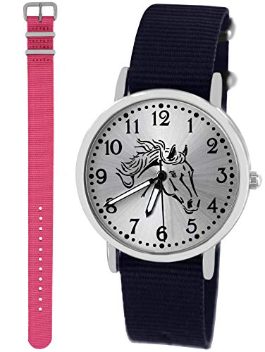 n Uhr Analog Quarz mit 2 Textilarmband 10415 blau rosa ()