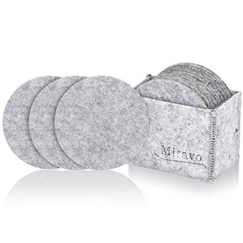 Mitavo Filzuntersetzer Rund - 10er Premium Set mit Box, Glasuntersetzer in Hell Grau für Glas, Getränke, Gläser, Tassen