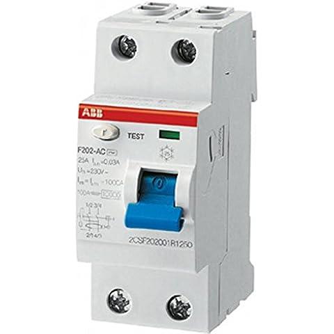 ABB 2csf202001r1630AC tipo de disyuntor, actual 2Pole, 63A, 30mA residual, 85mm H x 69mm D x 35mm