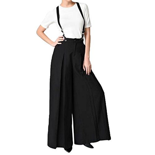 QINPIN Damen Vintage Strap Two Wide Leg Pants Schwarz XXL (Leg Wide Dance Pants)