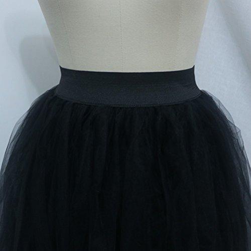 Sunzeus Damen Lange Röcke 3 Schichten Tüllrock hohe Taille Prinzessin Partykleid Schwarz