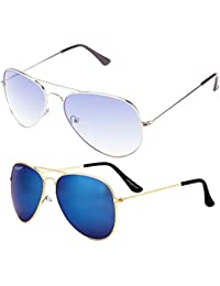 Elegante' Combo Of UV Protected Mirrored And Gradient Blue Aviator Sunglasses For Women
