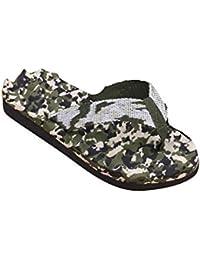 Sky Necessary For Summer Hombres Camuflaje Verano Flip Flops Zapatos Sandalias Zapatilla Interior y Exterior Flip-Flop (40, Negro)