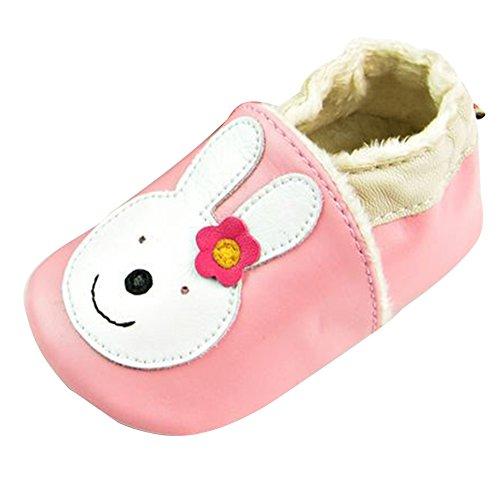 LSERVER Chaussures Bébé en Cuir Souple Premiers Pas Chaussons Semelle Douce, Lapin Rose avec Cachemire, L (12-18 Mois, Longue Interne: 13cm)
