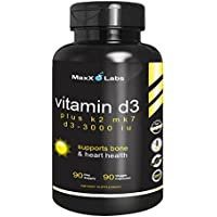 Vitamin D3 with Vitamin K2 MK-7 ★ New ★ Full 3,000 IU Per Capsule Plus 115mcg MK7 from Natto - Natural, Effective, Safe - Supports Bone and Heart Health - Gluten Free - 90 Capsules