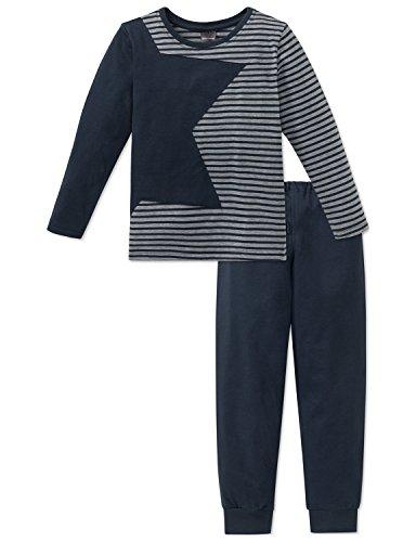 Schiesser Jungen Zweiteiliger Schlafanzug Anzug lang, Grau (Anthrazit 203), 128