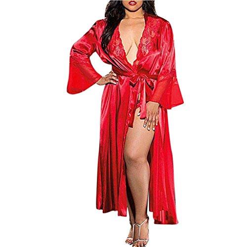 Fuibo Dessous, Frauen Sexy Lange Seide Kimono Morgenmantel Babydoll Dessous Bath Robe |Sexy Unterwäsche Babydoll Body Dessous (M, Rot)