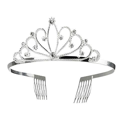 (PARTY DISCOUNT® Diadem Königin mit Diamanten, Silber)