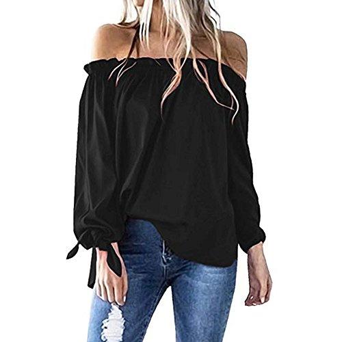 9375e13da4a ITISME Pull Femme T-Shirt Sexy Automne Haut Batwing Manche Longues épaules  Dénudées Grande Taille