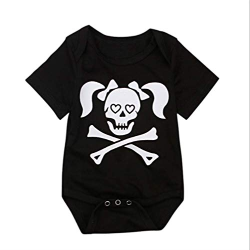 VENI MASEE Halloween Skull Strampler Body Top Geschwister Outfit für Jungen und Mädchen,2 ()