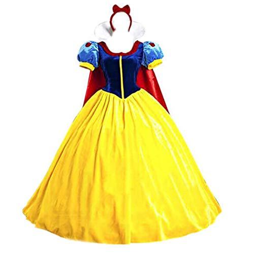 CMF Traumhaftes Damen Kostüm Schneewittchen Snow White - Samtkleid mit Tüll und Reifrock, Größe L